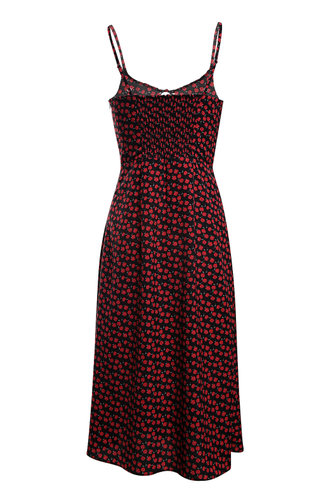 back_High Standards Black And Red Rose Print Dress