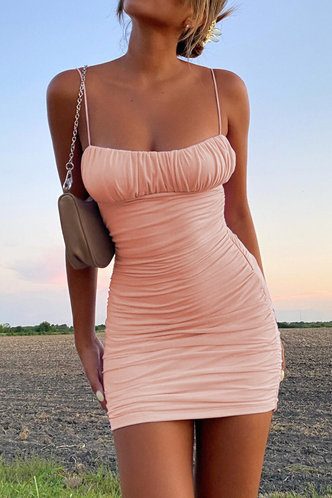 front_Dagmar Elaine Pink Bodycon Ruched Dress