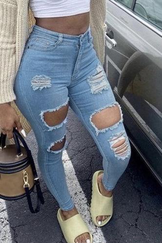 front_Mid Waist Pencil Wash Blue Women Jeans