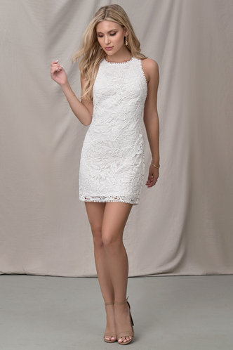 front_Winterfields White Mini Dress