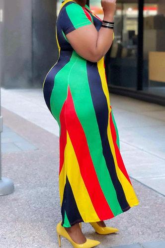 back_Edwina Hakil Striped Plus Split Hem Dress