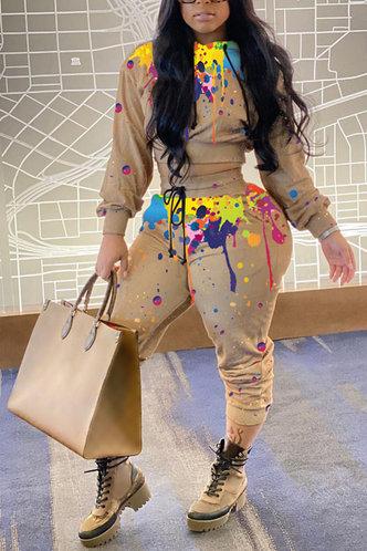 front_Tie Dye Drawstring Multicolor Pants Sets