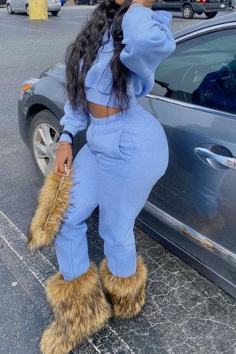 back_Solid Color Pocket Blue Pants Sets