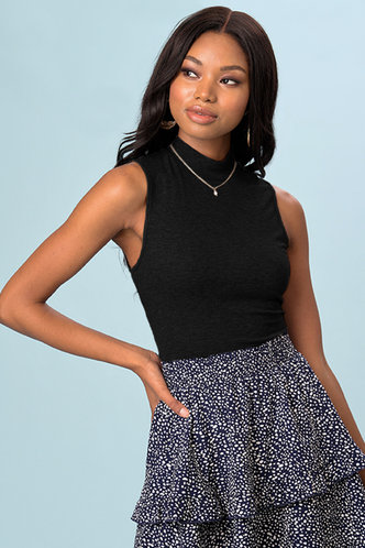 front_Over You Black Sleeveless Top