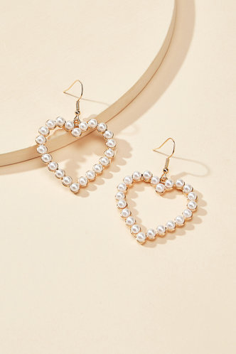 back_Angelina Eleanore White And Gold Heart Charm Drop Earrings 1pair