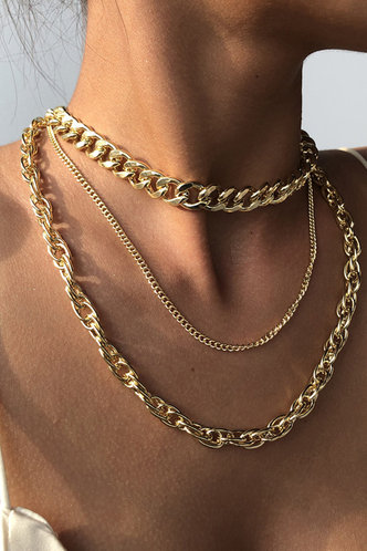 back_Helen Elizabeth Gold Simple Chain Layered Necklace
