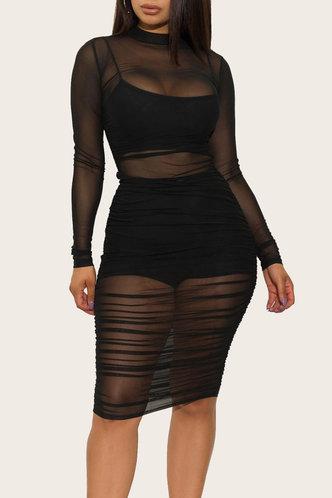 front_Dana Eden Black Mesh Dress