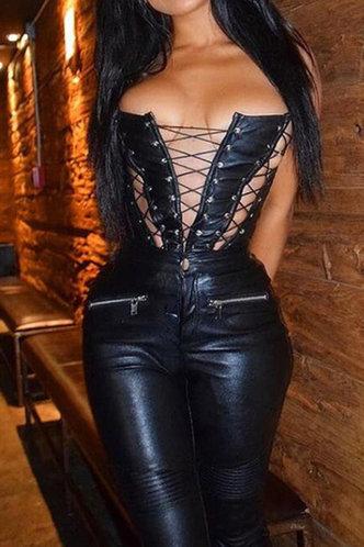 front_Beulah Elsa Black Lace Up Bustier