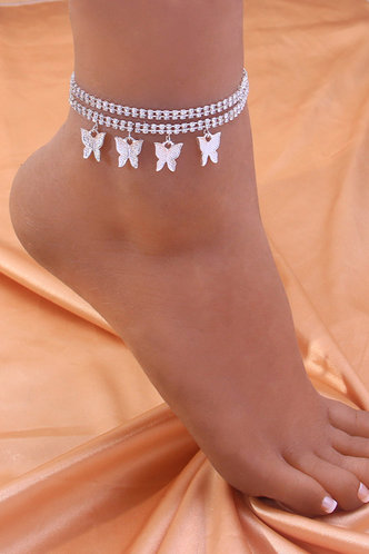 front_Sweet Rainstone Butterfly Silver Body Jewelry