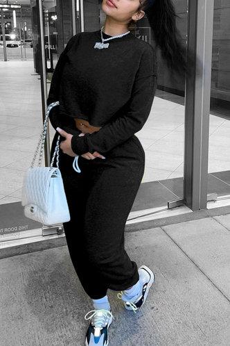 front_Plain Pullover Black Pants Sets