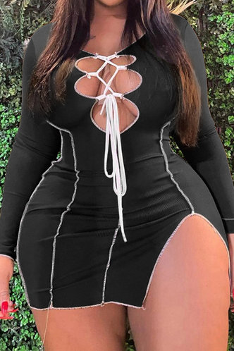 front_Casual Black Plus Size Dresses