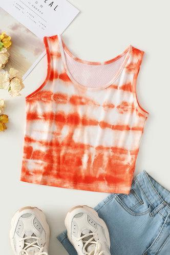 back_Fannie Eartha Orange Print Crop Top