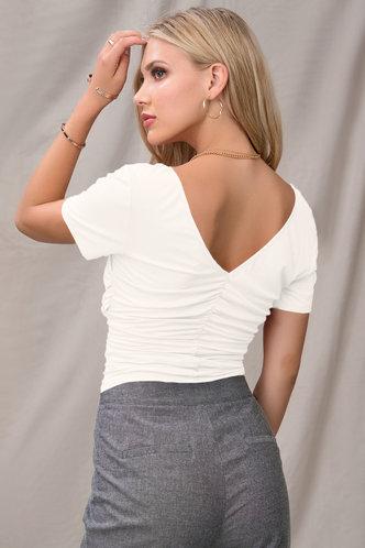 back_Thousands Kisses White Short Sleeve Top