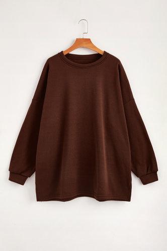 back_Casual Round Neck Plain Brown Sweatshirts & Hoodies