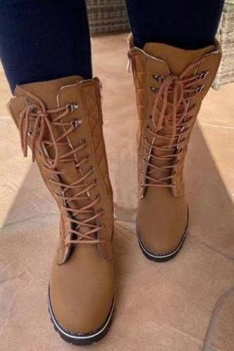 front_Low Heel Round Toe Khaki Boots