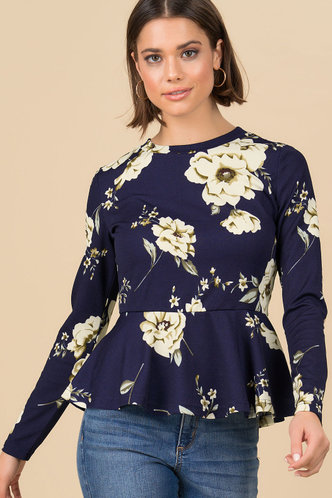back_Moody Florals Royal Blue Floral Print Peplum Top