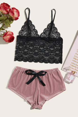 front_Philipppa Enid Black And Pink Sleepwear