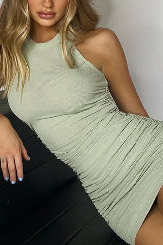 front_Justine Elsa Mint Green Plus Ruched Bodycon Dress