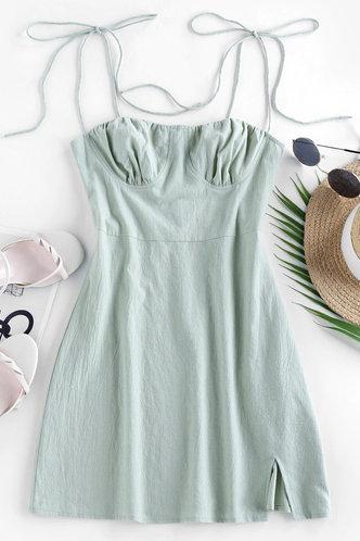 front_Toni Elsie Light Green Tie Shoulder Split Hem Dress