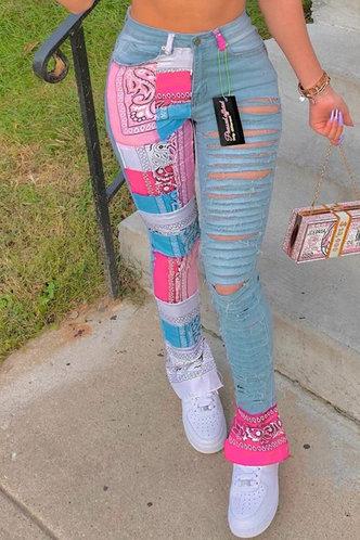 front_Jean Ella Light Blue Multi Print Ripped Jeans