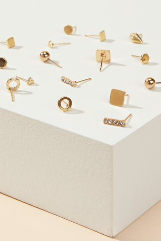 back_Mignon Edith Gold Stud Design Earrings 9pairs
