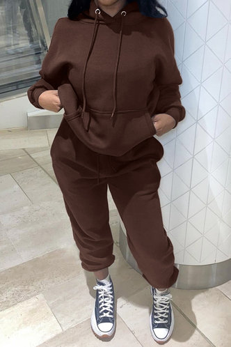 front_Letter Print Pullover Brown Sweatshirt Sets