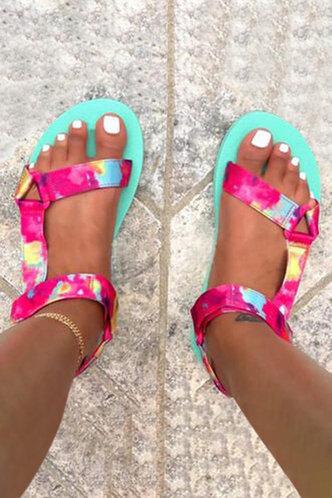 front_Open Toe Flat Tie Dye Sandals