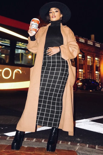 front_Off The Grid Black And White Plaid Pencil Skirt