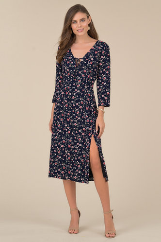 back_Amy Elaine Dark Navy Floral Print Midi Dress
