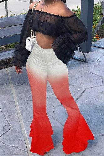 back_Flossie Elsa Red Gradient Plus Flare Pants