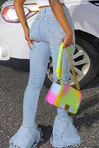 back_Mid Waist Flare Leg Wash Light Blue Women Jeans