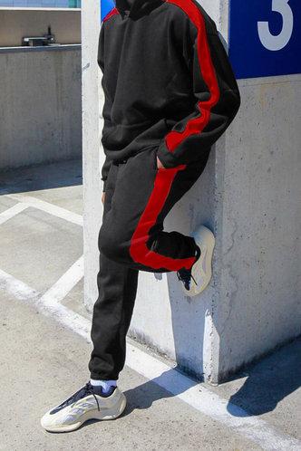 back_Casual Striped Black Men Pants Sets