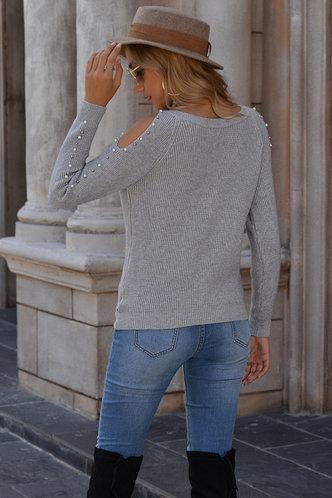 back_Hunter Grey Cold Shoulder Sweater