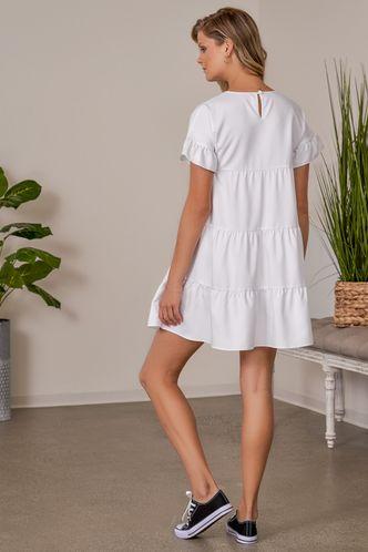 back_Daily Short Sleeve Boat Neck Regular Sleeve White Plain Dresses