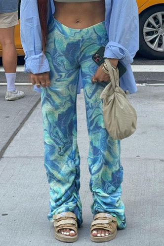 front_Mid Waist Tie Dye Wide Leg Multicolor Pants