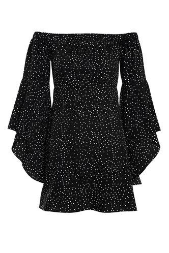 front_My dream Black And White Polka Dot Dresses