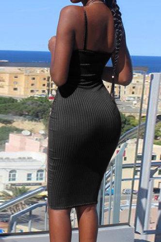 back_Daily Party Over the Knee Sleeveless Black Plain Dresses