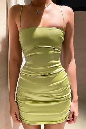back_Margery Edwina Miint Green  Ruched Dress