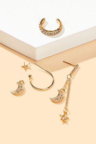 back_Janey Elsie Gold Star & Moon Charm Earring 3pcs