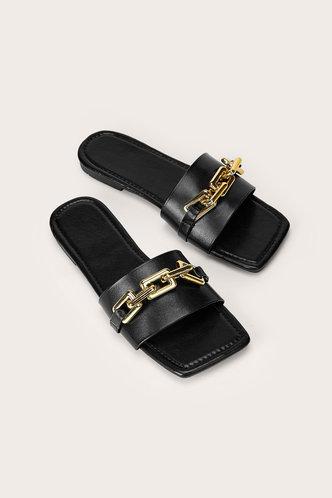 front_Sallie Elsa Black Chain Decor Sliede Sandals