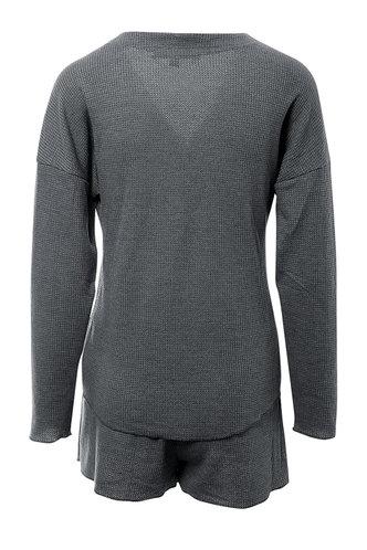 back_Lounge Life Grey Waffle Knit PJ Set