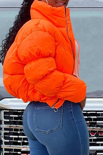 back_Sporty Stand Collar Plain Pocket Orange Outerwear