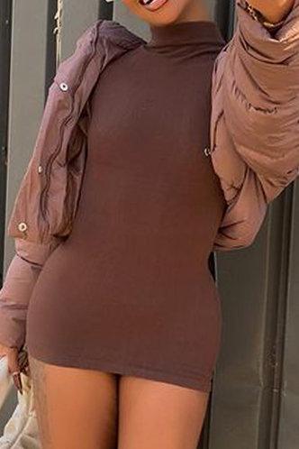 front_Solid Color Brown Above Knee Dress