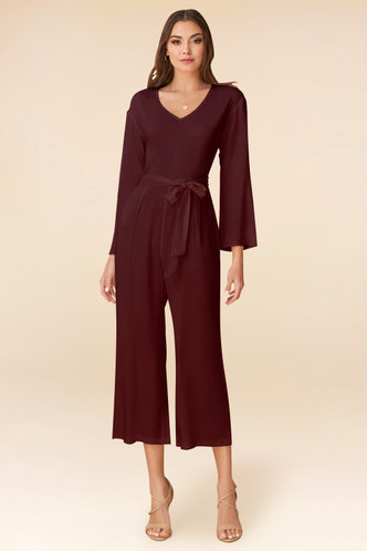 front_Love and Affection Cabernet Jumpsuit