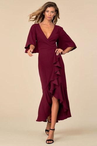 front_Sweet Salsa Dreams Burgundy Wrap Dress