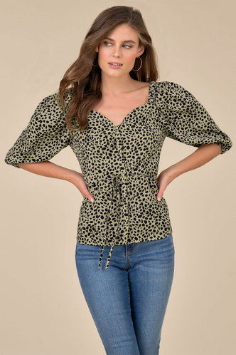 front_Meow Tan And Black Leopard Print Top
