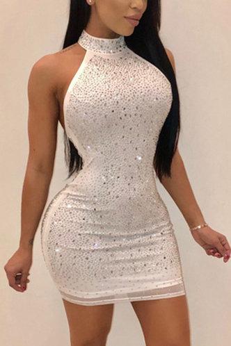 front_Bar/Nightclub Party Sleeveless White Dresses