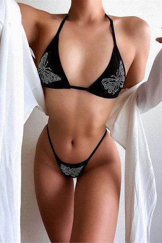 front_Carlton Eleanore Black Butterfly Print Bikini