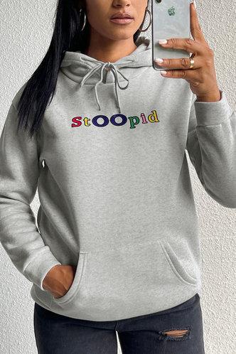 back_Casual Hooded Collar Letter Print Light Grey Sweatshirts & Hoodies