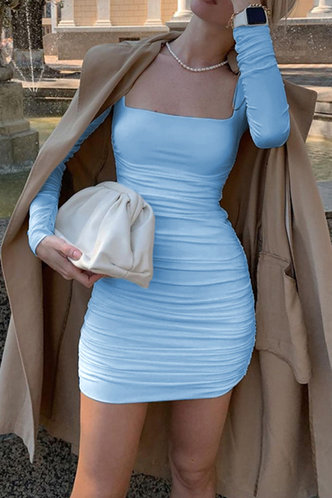 front_Prints Charming Sky Blue Ruched Dress